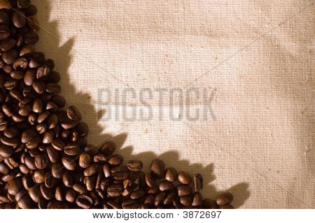 Coffee Grains On A Sackcloth