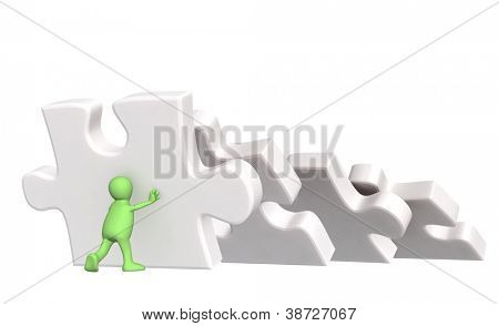 3d puppet, supporting falling parts of puzzles. Isolated over white