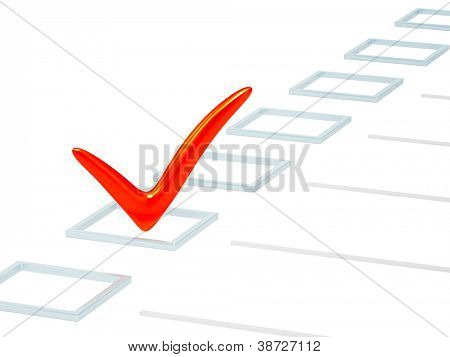 Checkbox with red point. Isolated over white