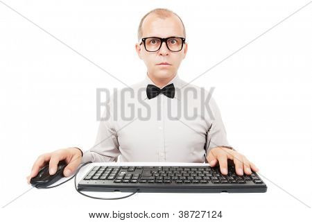 Computer geek with keyboard and mouse, isolated on white background