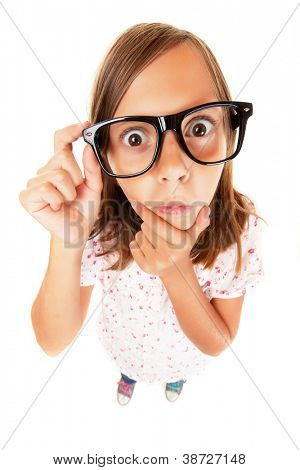 Confused nerd girl isolated on white background