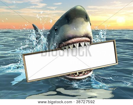 A shark holding a billboard in his mouth. Copy-space available to insert your own text/images. Digital illustration.
