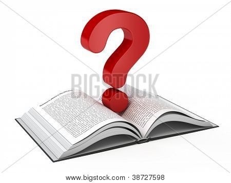 Libro abierto y un signo de interrogación