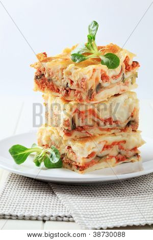 heap of three lasagna pieces decorated with green leafs, on the white plate