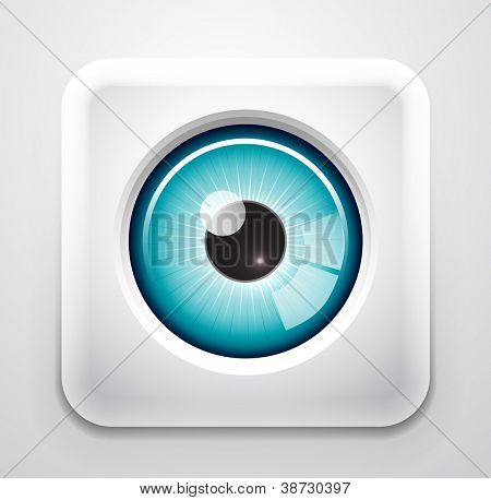 Glossy eye button. Vector eps10 illustration