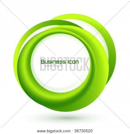 Green eco business emblem. Abstract vector circles background for information representation