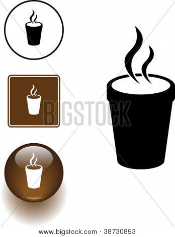 styrofoam cup with hot beverage symbol