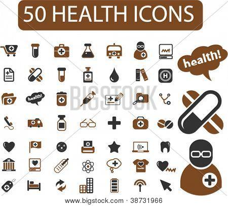 50 Gesundheit Symbole Set, Vektor