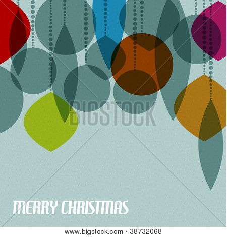 Retro Christmas card with christmas decorations - teal, brown and red