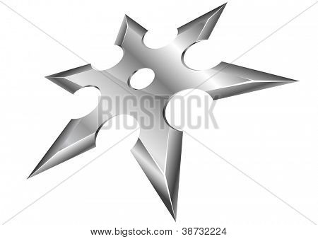 illustration of a metal ninja shuriken with perspective