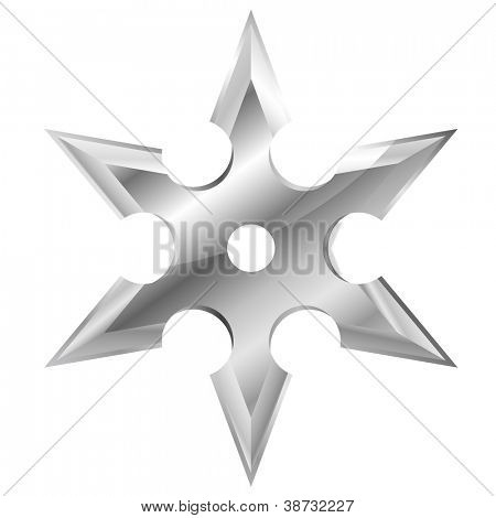 illustration of a metal ninja shuriken