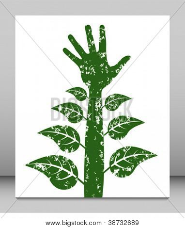 Personal growth and development hand with leaves.