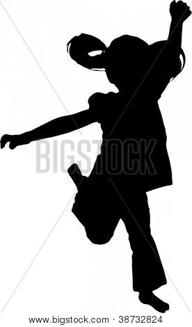 Vector Silhouette of girl jumping up in the air