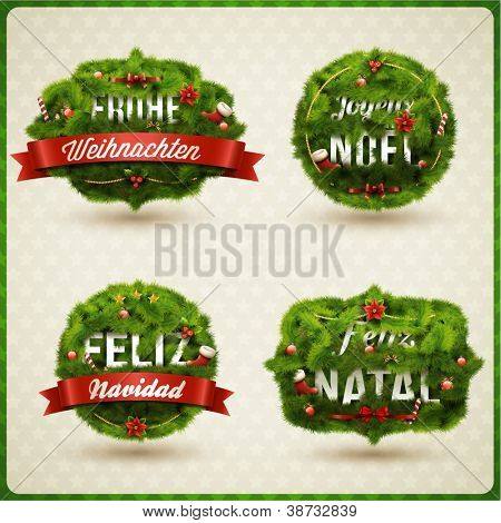 """Merry Christmas"" in different languages (German, Spanish, French, Portuguese). Creative Christmas label."