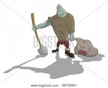 Vector gravedigger with shovel and sack with corpse, Halloween artwork