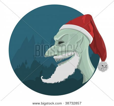 Vector evil Santa Claus in red hat with horror background