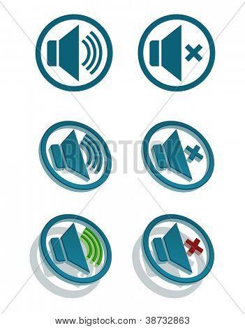 Vector set of simple speaker icons