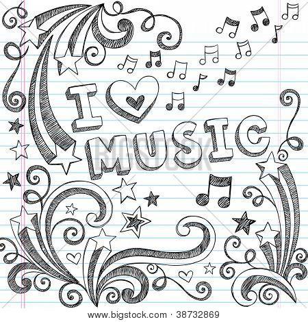 Me encanta la musica a escuela Notebook incompletos garabatos y notas musicales Vector remolinos dibujados a mano