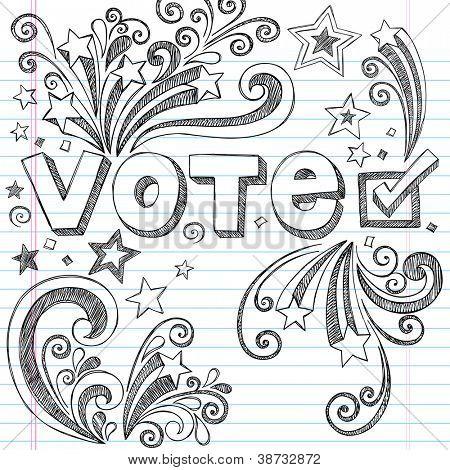 Votar en elecciones presidenciales a escuela estilo Notebook incompletos Doodles con estrellas y remolinos - mano