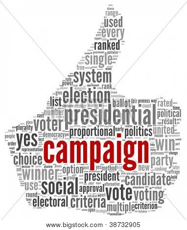 Campaign for president concept in word tag cloud on white background