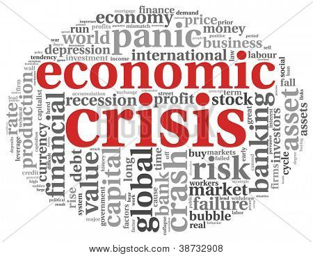 Economic crisis concept in info-text graphics on white background