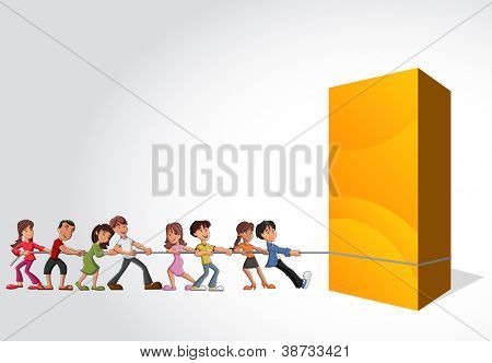Group of children pulling a big yellow box