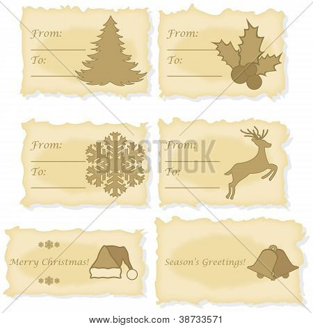 Christmas Cards Printed On Old Paper