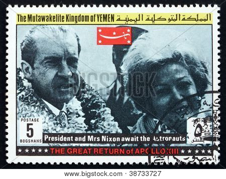 Postage stamp Yemen 1969 President and Mrs Nixon, Apollo XIII