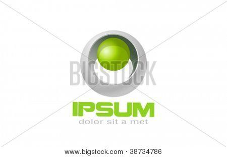 Sci-fi ecology logo. Biotechnology sphere. Vector. Editable.