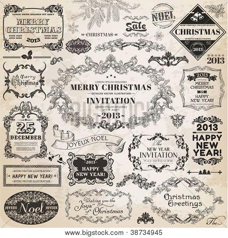 Vektor festgelegt: Weihnachten Schreibschrift Elemente und Seite Dekoration, Vintage Frames