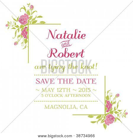 Wedding Invitation Card - Flower Theme - in vector