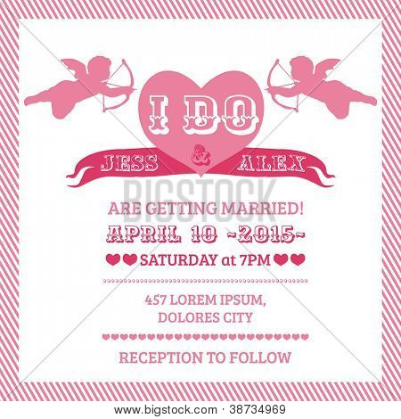 Wedding Angel Invitation Card - in vector