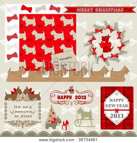 Scrapbook Design Elements - Vintage Christmas Dog - in vector