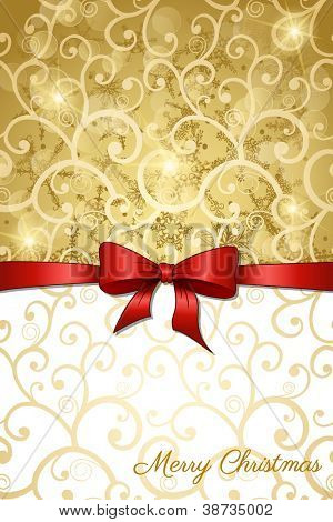 Christmas greeting card with golden background and red bow