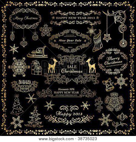 Set of golden design elements on dark background