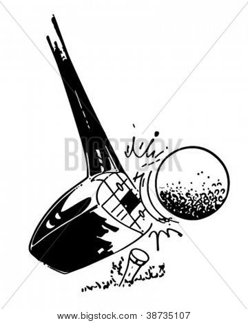 Golf Club Hitting Ball - Retro Clipart Illustration