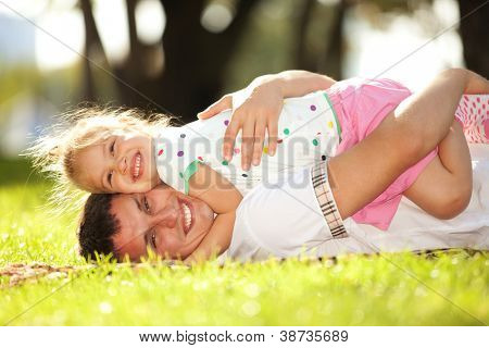 father and daughter in the park