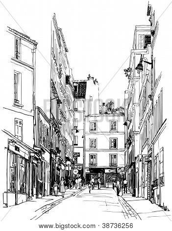 Vector illustration of a street near Montmartre in Paris