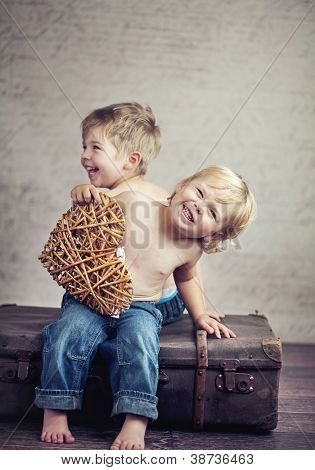Two little boy brothers