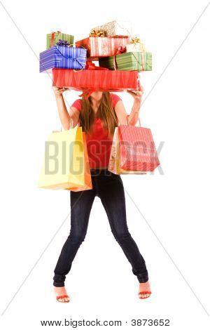 Pretty Shopping Girl Hold Many Gift Boxes And Bags