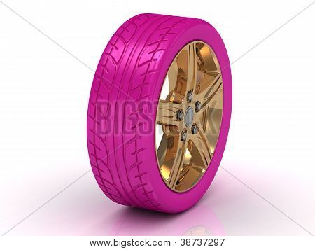 Glamorous Pink Wheel With A Gold Disc