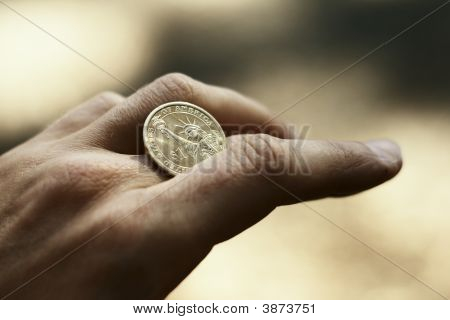 Coin Roll With Golden Presidental Dollar