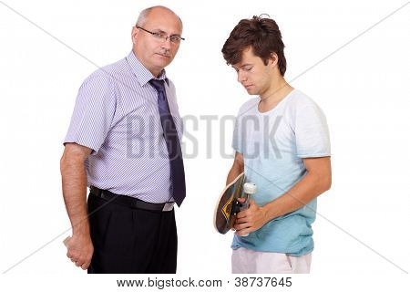 Strict father with belt punishes his young son with skateboard, isolated on white background