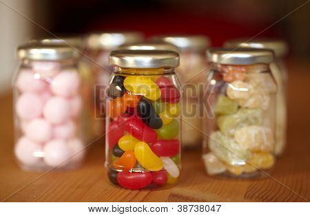 Colorful jelly beans in jar