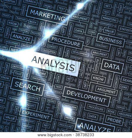 Analysis. Word collage. Vector illustration.