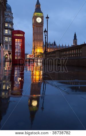 London Symbols: Telephone Box, Clock Big Ben Tower In Twilight