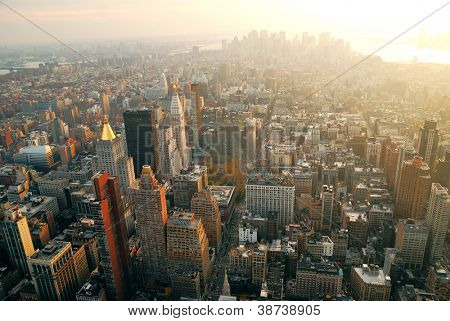New York City Manhattan panorama aerial view with skyline at sunset.