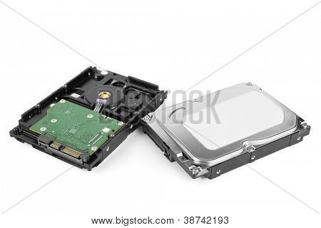Two internal HDD hard disk drives on white.
