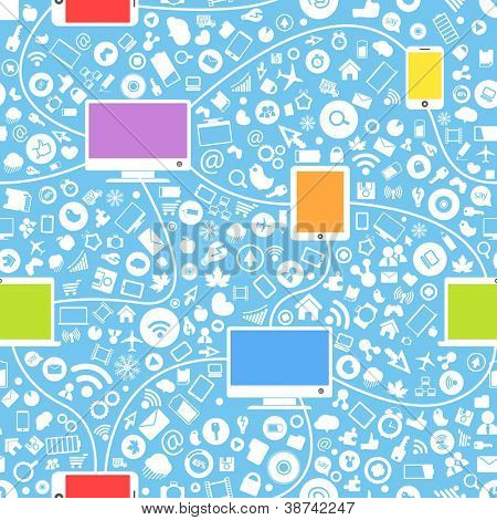 Seamless background of color modern gadgets and media icons