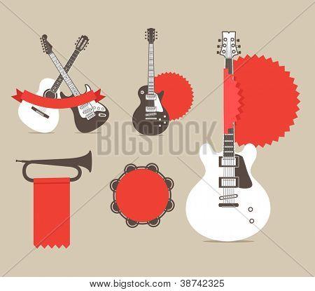 Vektor-Musikinstrumente mit roten Bändern und Markierungen. Vorlage für einen text